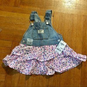 NEW! Osh Kosh Baby Girls Denim Jumper w. Skirt